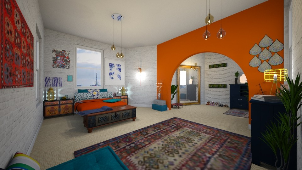 Orange Blue Interior - Bedroom - by g4bst0ck
