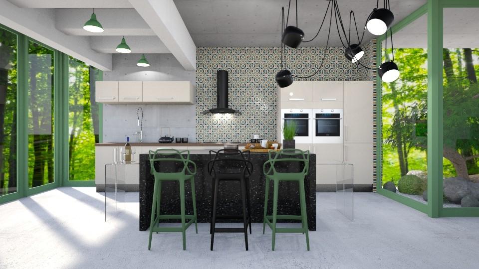 cocina verde - Modern - Kitchen - by Aeea P