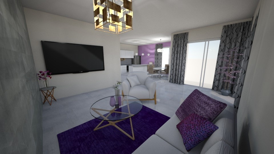 Violet in my mind  - Living room - by Edyta Bak