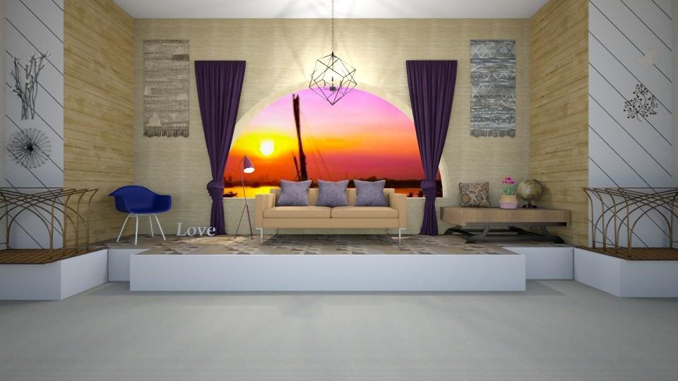 Purple window - Rustic - Living room - by gefenkl