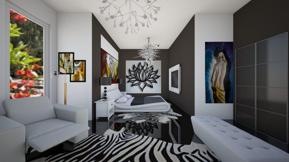 bedroom branco e preto - Bedroom - by Tininha oliveira