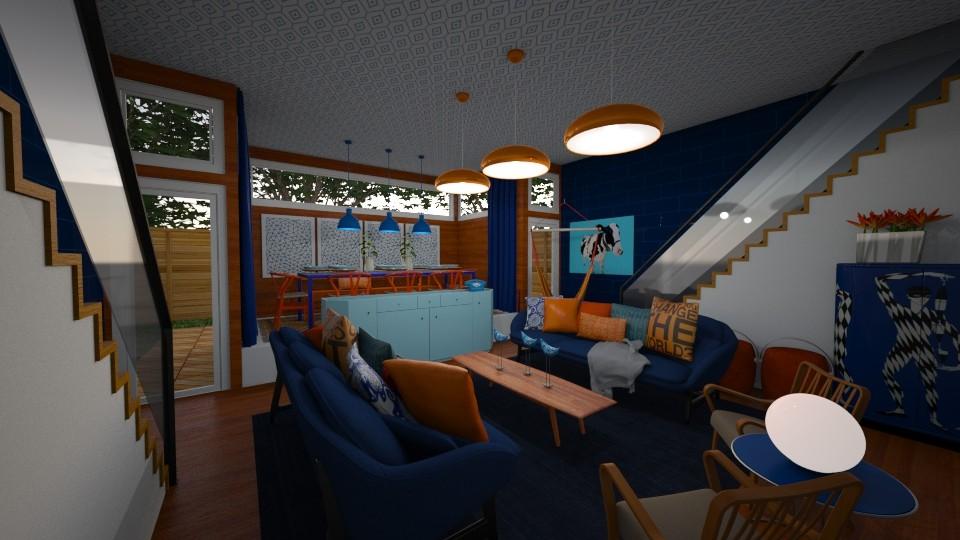 Orange Blue Mashup - Living room  - by DecoMaster5