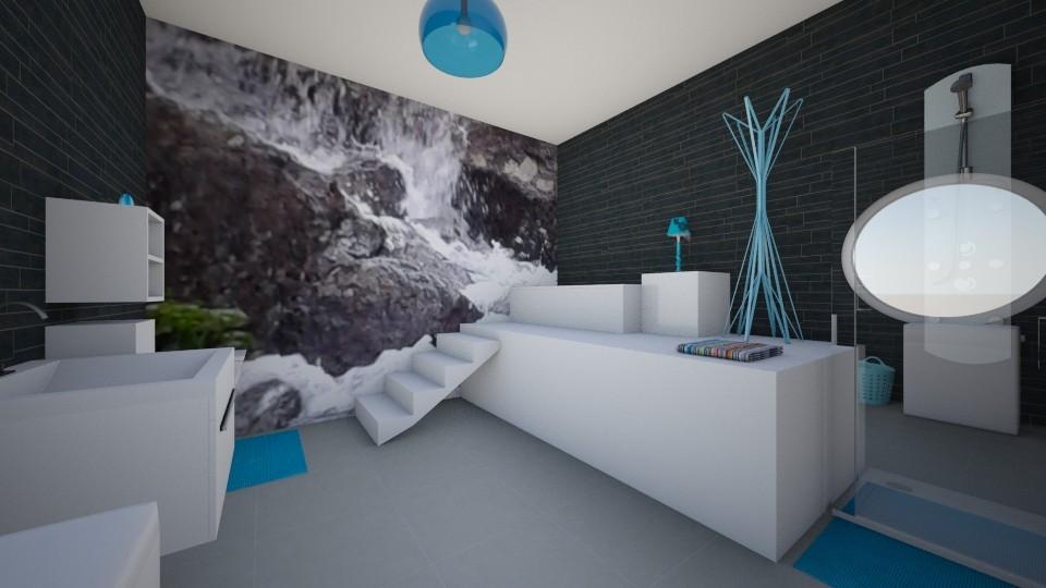 nature wallpaper - Modern - Bathroom  - by Dominisiaa55555