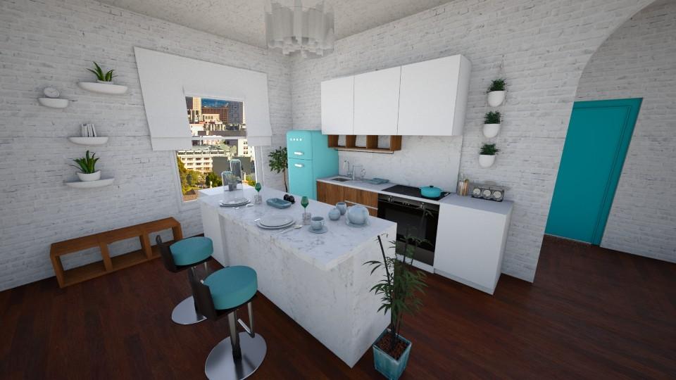 teal kitchen - Kitchen - by peedeepow