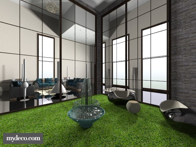 living room with garden - Living room - by yasmeengreen