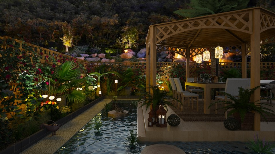 Design 370 Backyard Garden at Night - Garden - by Daisy320
