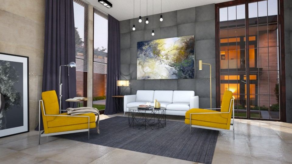 Yellow Accent 2 - Modern - Living room - by Valeria Nesterova