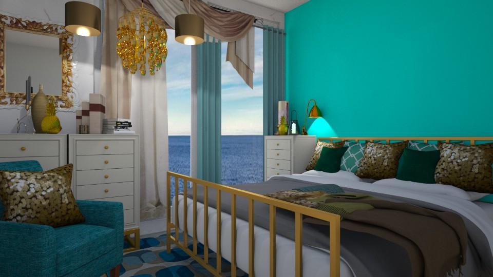 Turquoise and gold - Living room - by Loca910