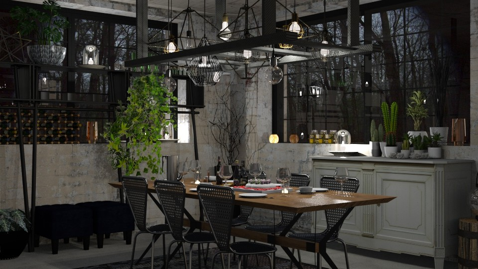 Dinner with Friends - Rustic - Dining room - by evahassing