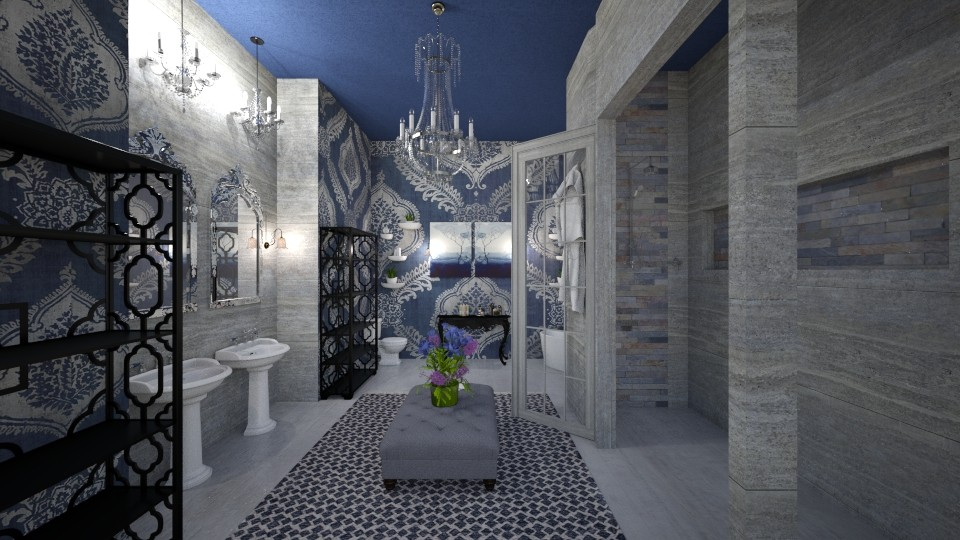 Navy Suite Bath - Modern - Bathroom - by DiamondJ569