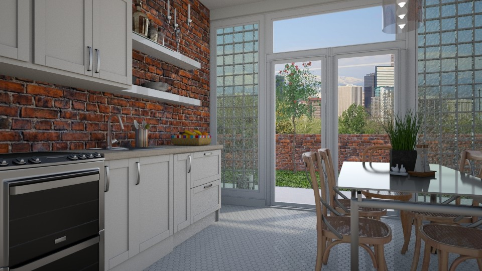 Glass and brick - Kitchen - by Tuija