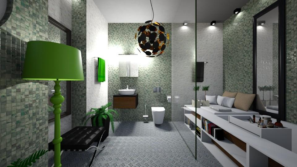 Bath_Modern_Green_Black_White_Creation_ - Modern - Bathroom - by Nikos Tsokos