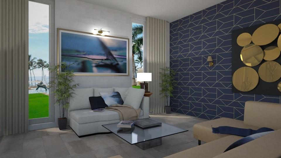 Blue Invitation 3 - Living room - by TrustKisha