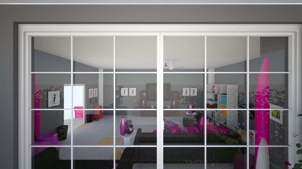 Pink black and white  - Living room - by Stacy876