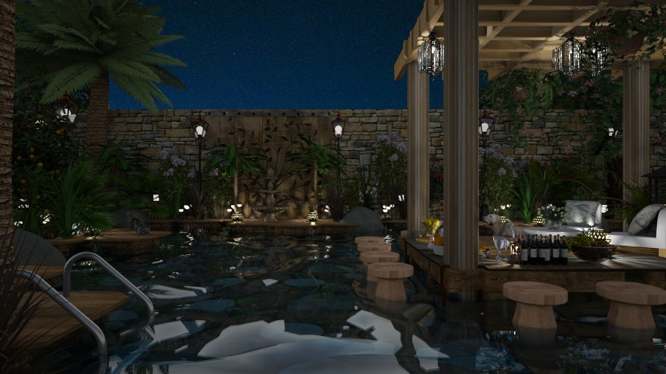 Design 373 Backyard Paradise by Night - Garden - by Daisy320