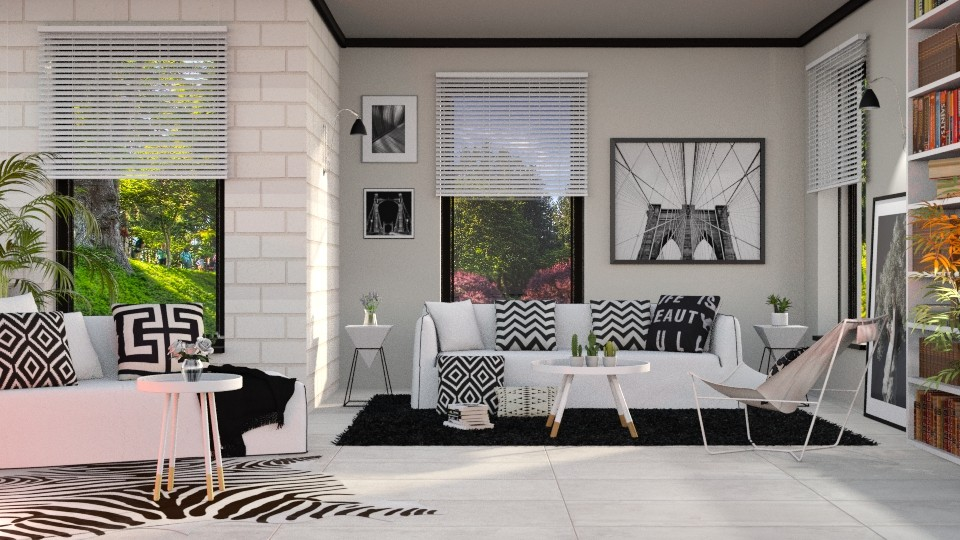 S_Black and White shiny - Living room - by Shajia