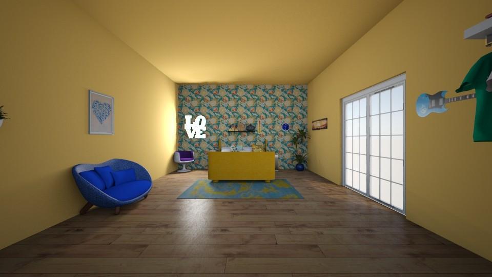 Orange and Blue Bedroom - Bedroom - by rileyemily