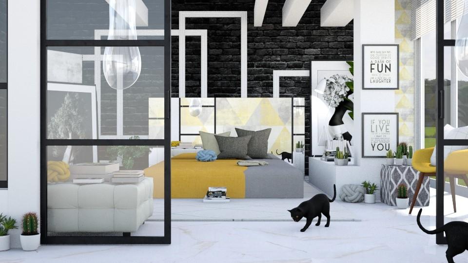 YellowGray - Bedroom - by ArtHousedeco