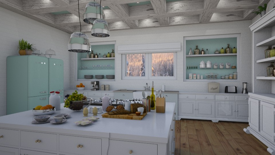 Cool  Calm Kitchen - Vintage - Kitchen  - by Kathran