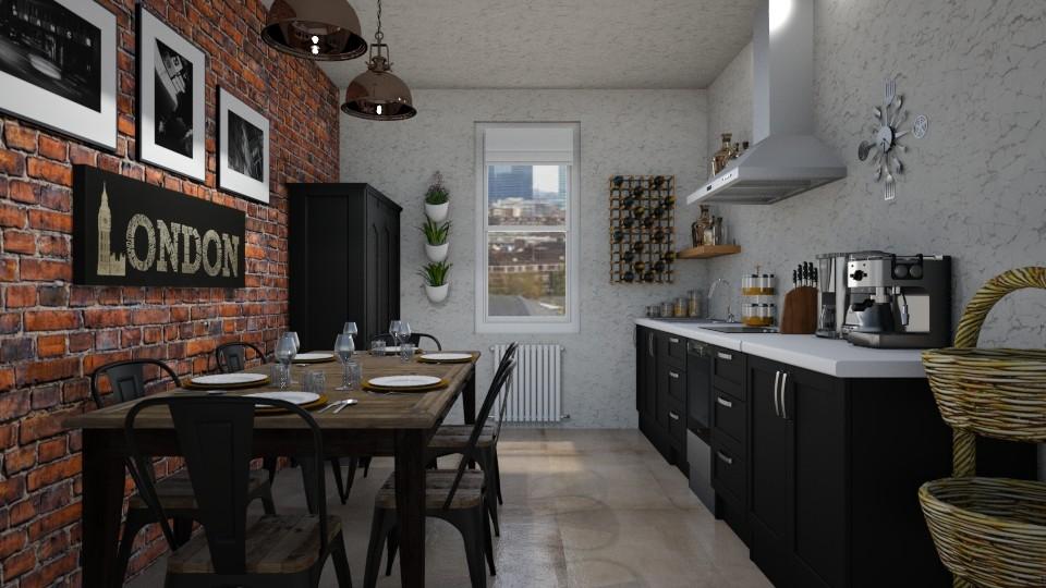 Industrial Loft Kitchen  - Retro - Kitchen - by LadyVegas08