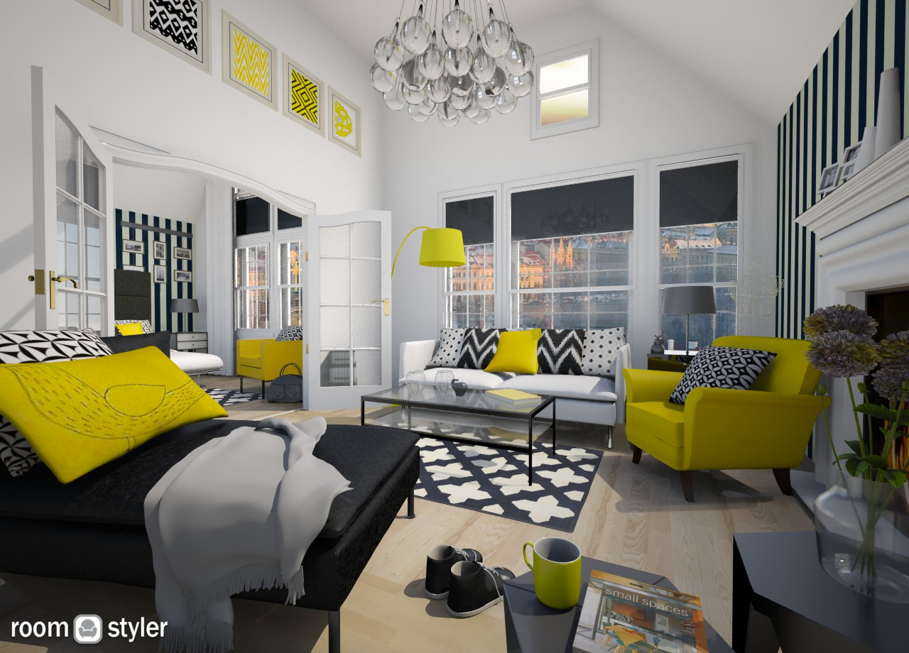 Black and Yellow - Living room - by MilaMao