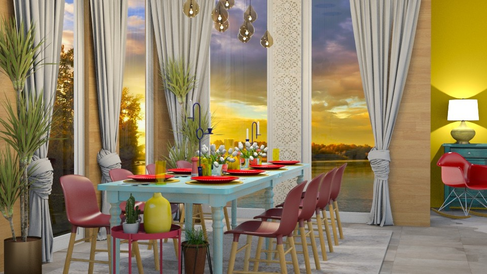 Red Chairs Blue Table - Dining room - by Vlad Silviu