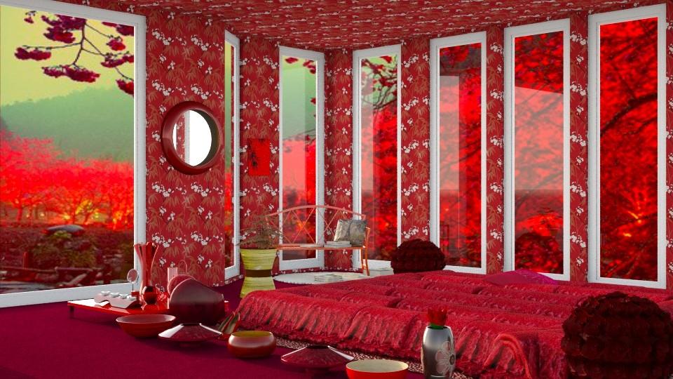 Red Bamboo Bedroom - Modern - Bedroom - by InteriorDesigner111