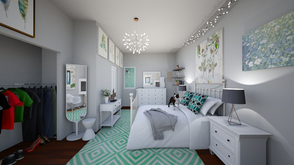 VIEW 4 of college apartment - Feminine - Bedroom  - by annator
