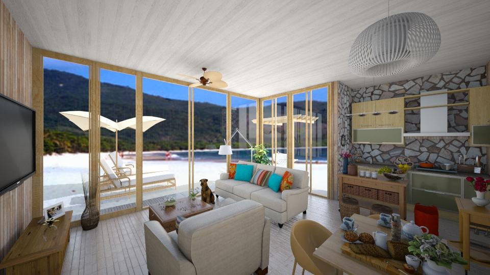 casinha de praia - Living room - by Larryssa10