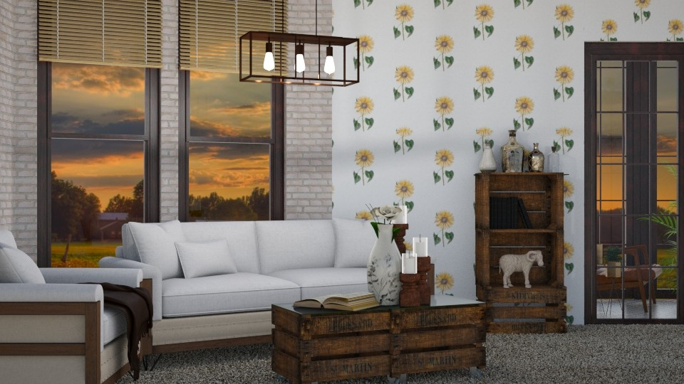 Sitting With Sunflowers - Living room  - by helsewhi