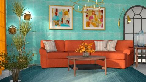 M_ Orange and Teal - Living room  - by milyca8
