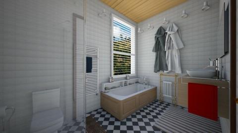 barn rebuilt in wyoming - Bathroom  - by Conchy