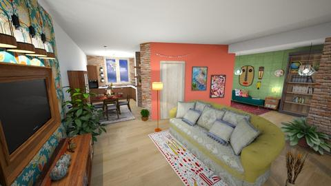 Living room and kitchen - by Phoenix_shruti