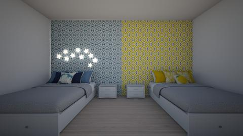 Yellow VS Blue - Kids room  - by jordynclark