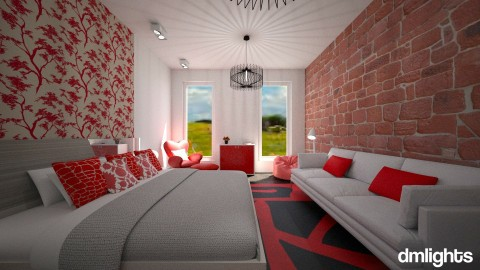 Branco e vermelho noite - Bedroom - by DMLights-user-996890
