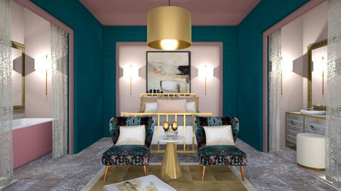 Turquoise  pink and gold - Bedroom - by chania