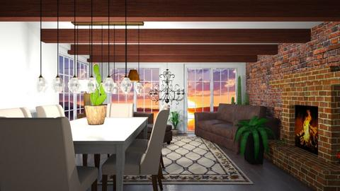 brown living and dining - Living room  - by Max30