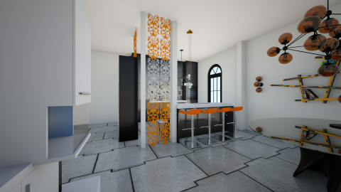 orange open floor kitchen - Kitchen - by Cyntia Reillo