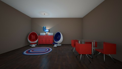 Red and Blue Living Room - by bryson63