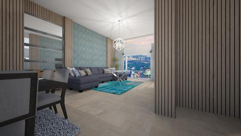 Turquoise city room  - Modern - Living room - by aschaper