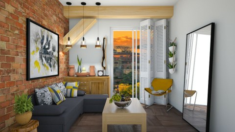 Rustic yellow apartment - Rustic - Living room - by evemorgan96