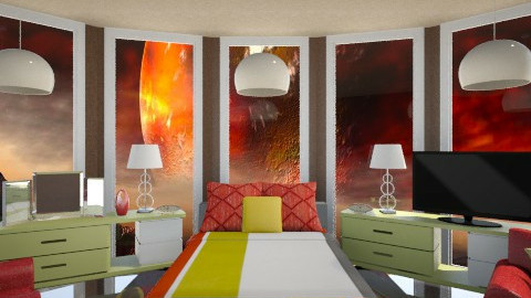 Red Planet  - Bedroom  - by Sandra Shirley McBride