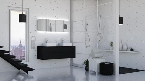 Black and White bathroom - Bathroom  - by Victoria_happy2021