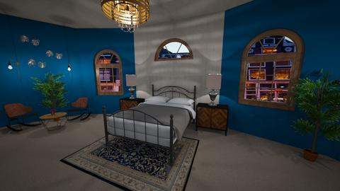 Bold Blue Bedroom - Bedroom - by inkblot01