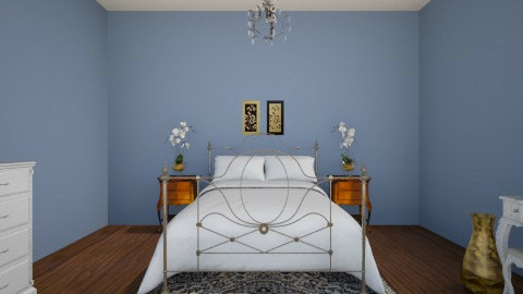 Blue and Gold Bedroom - Glamour - Bedroom  - by JazzyAllen