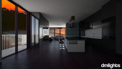 black kitchen - Modern - Kitchen  - by DMLights-user-1013292