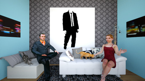 Cats and Suits - Living room - by MadmoiselleStrange