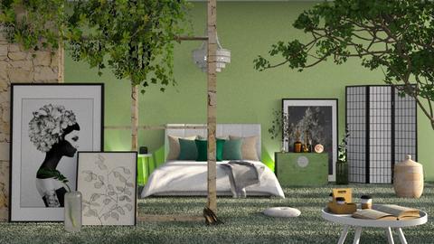 sage green bedroom - Modern - Bedroom  - by RimaNina