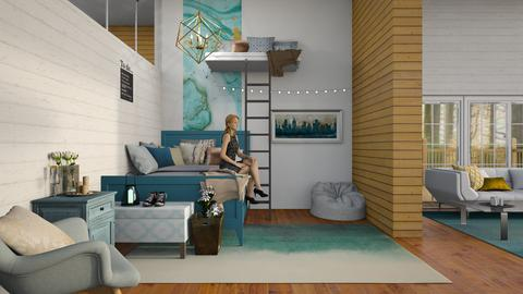 Comfy Gold and Teal Room - Modern - Bedroom - by artsy_naturelover