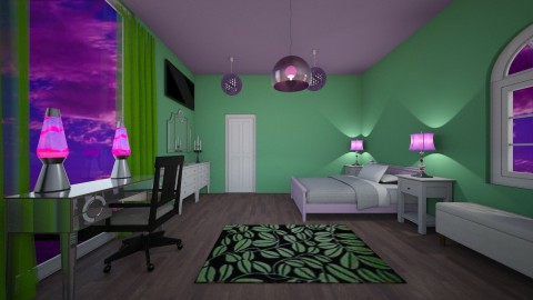 Purple and Green Bedroom - by mjz6202007